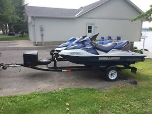 2 sea doo GTX and trailer
