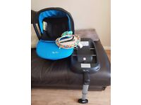 Silver Cross blue simplicity baby car seat/carrier with matching ISOFIX base amd mirror
