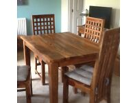Kitchen/dining table + 4 chairs. She-sham wood £70.00
