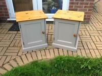2x Solid pine bedside cabinets/side tables
