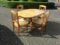Oval Shape Solid Pine Table & 4no Chairs