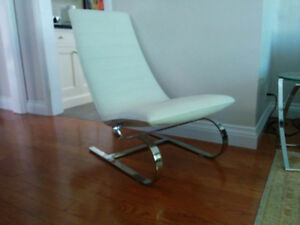 White Leather and chrome lounge chair - $100