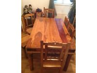 DINING TABLE & 6 CHAIRS INDIAN SHEESHAM JALI ROSEWOOD