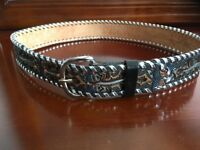 Leather hand laced and painted tan Charro belt, size 32