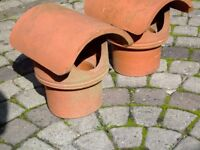 2 x Terracotta chimney cowls - bought and never used