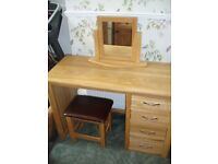 Bevel Solid Oak Dressing Table Stool Mirror Set Oak Furniture Land