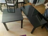 Black glass coffee and corner table set