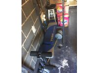 York fitness bench wig leg raise and lat pull down
