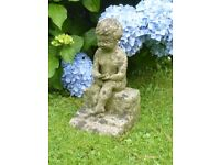 Vintage Cast Stone Young Boy Reading a Book Garden Ornament Statue 32cm Tall