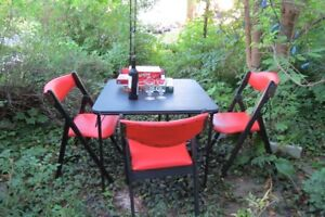 "Mid-century Danish-style teak ""scissor"" chairs and folding table"