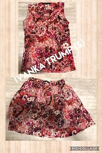 Floral sleeveless top & skirt (like new)