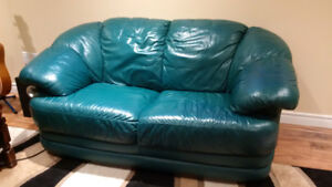 Green Leather Love Seat, Easy Chair and Ottoman - Reduced!