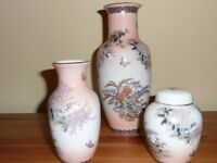 Oriental style vases and ginger jar – 3 items