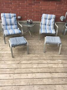 Patio chairs with stools and table