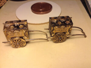Antique Japanese Sterling Silver and Gold Figural WAGON Salt & P