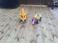 Micro mini excavator and hard hat + sit on manual digger £45