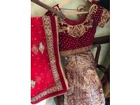 BRAND NEW Exclusive, Stunning Red and Gold Indian Wedding Dress (Lehenga). UK Size 10/12
