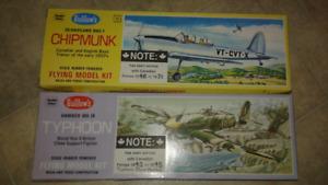 Guillow's chipmunk & typhoon plane model kits vintage