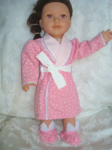 18 inch girl doll robe and slippers