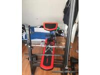 Weight lifting bench with iron weights