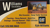 WILLIAMS EXCAVATION MINI EXCAVATOR & DUMP TRAILER SERVICES