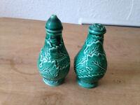 Antique/Vintage Wedgwood Salt & Pepper Shakers Green Majolica Leaf