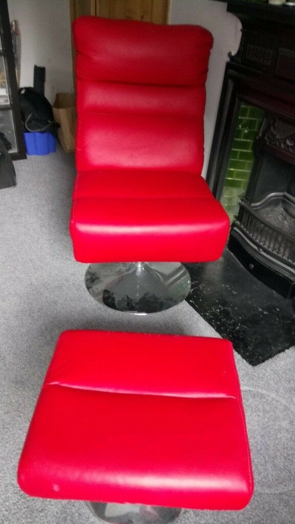Argos Costa Red Faux Leather Swivel Chair And Footstool