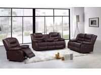 ELLEN LUXURY 3&2 BONDED LEATHER RECLINER SOFA SET WITH DRINK HOLDER - *** FREE DELIVERY ***