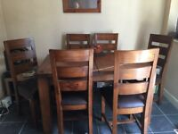 Oak Dining Table & 6 chairs with brown leather seats
