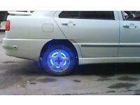 brand new 4pc wheel dust stems air values cap sten led lights blue3