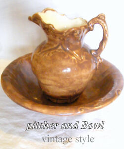 Vintage style, Washstand Pitcher and Bowl, handcrafted. 1983