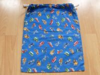 Boy's cotton drawstring shoe bag/gym kit bag.