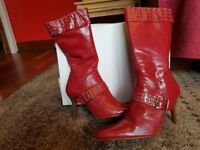 Lynette red studded boots