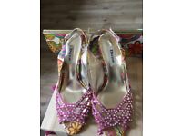 Sling Back Pink multi coloured Diamante encrusted high heels with Matching Bag size 6 by Dune