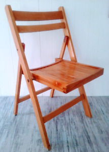 5 Mid Century Slatted Folding Chairs WOOD Antique Vintage