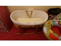 Baby moses basket with matress and stand