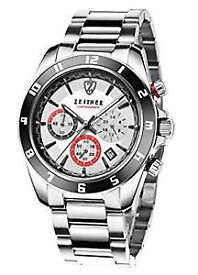 Mens Zeitner Chronograph Timepiece Watch With Stainless Steel Bracelet