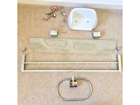 Bathroom accessories, glass shelf, hand towel ring, towel rail and porcelain loo roll holder