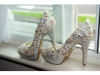 Bridal Shoes Platform Handcovered Rhinestone & Pearls etc Size 5 (38)