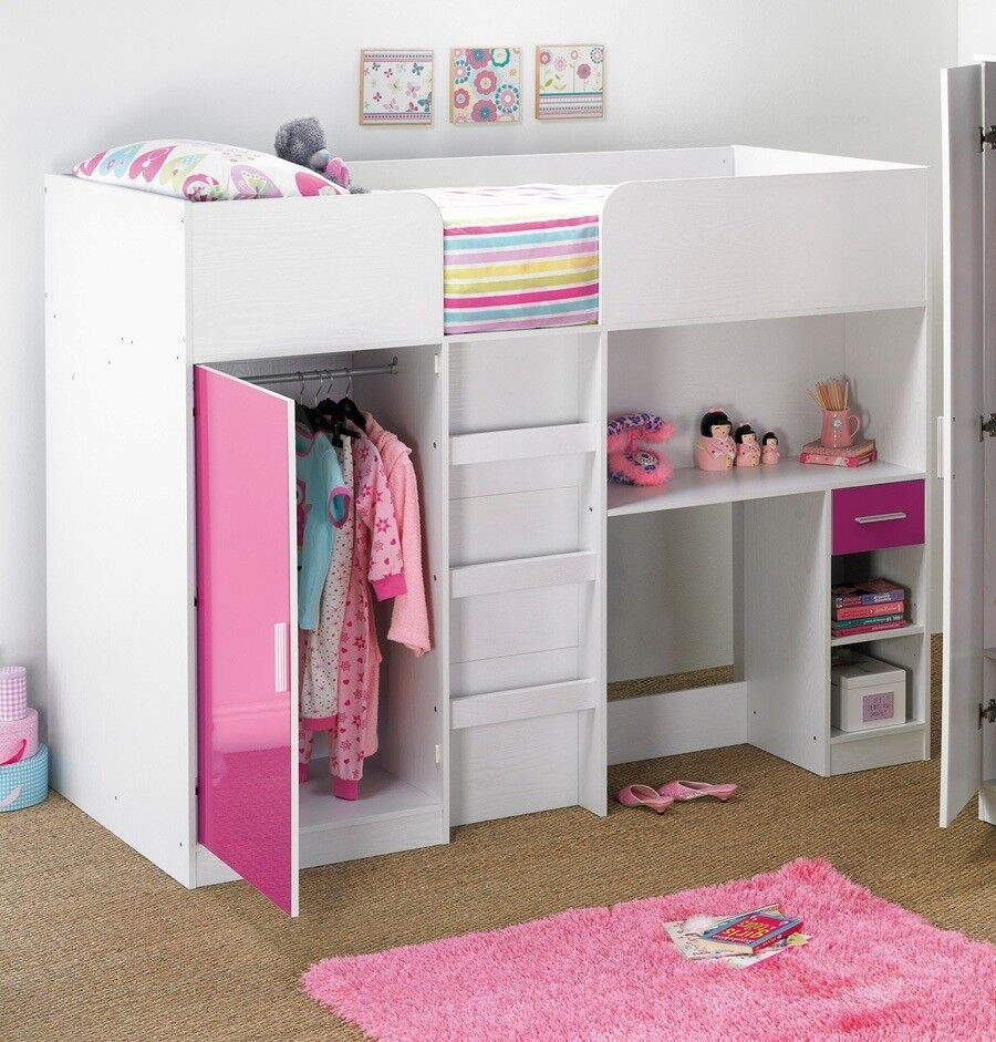 Brand New High Sleeper Bed 3 In 1 Bed Wardrobe Desk With Drawer High