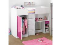 Brand New High Sleeper Bed 3 in 1 Bed Wardrobe Desk with Drawer High Gloss Pink and White