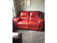 Brown 3 seater leather sofa & 2 seater leather recliner