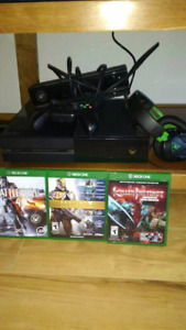 Xbox one + kinect + games + set of turtle beach