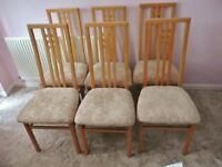 6 Solid Wood Dining Room Chairs / Seats Beech Frame and Pale Beige Fabric Seat Covers