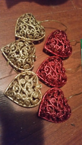 6 Heart Ornaments in Red and Gold (can mix or match colors).