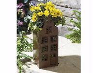 RUSTIC HOUSE PLANTERS OR IDEAL SOLAR LIGHTS /CANDLES NEW IN BOX