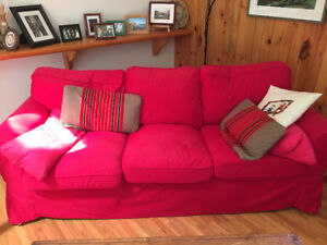 perfect condition Ikea Extorp sofa and cedar bookcases