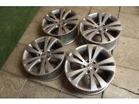 "Genuine VW 18"" Chicago Alloy wheels 5x112 Golf Passat CC Eos Audi A3 A4 Caddy Alloys"