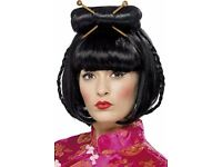 CHINESE ORIENTAL FANCY DRESS WIG PARTY OR HEN DO ALSO HAVE DRESS FOR SALE