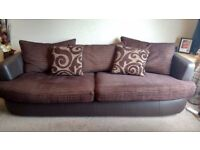 4 seater sofa & swivel loveseat brown leather and fabric
